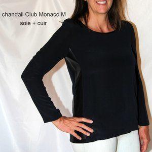 navy silk blouse sweater black leather trim medium